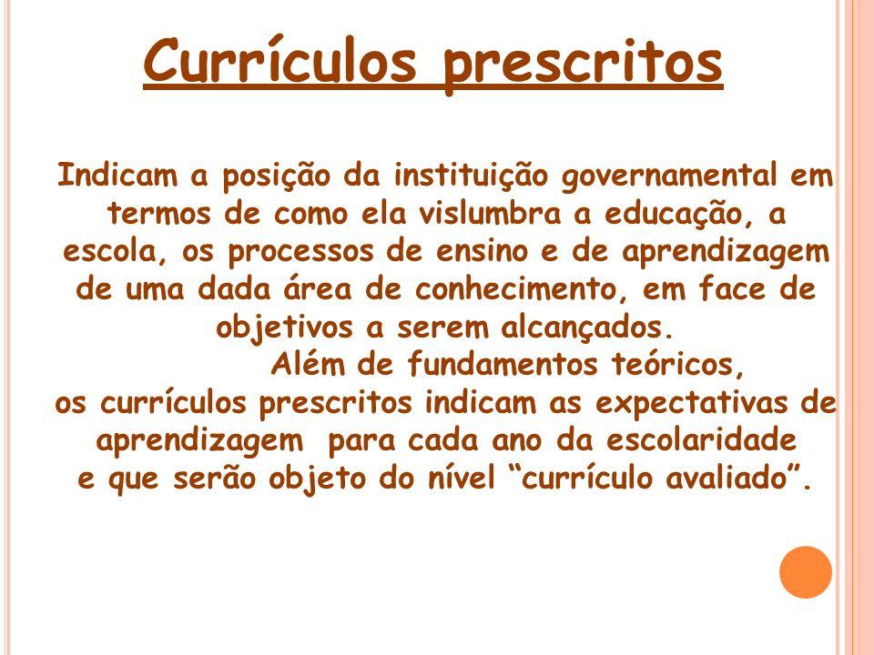 Currículos prescritos Indicam a posição da instituição governamental em termos de como ela vislumbra a educação, a escola, os processos de ensino e de