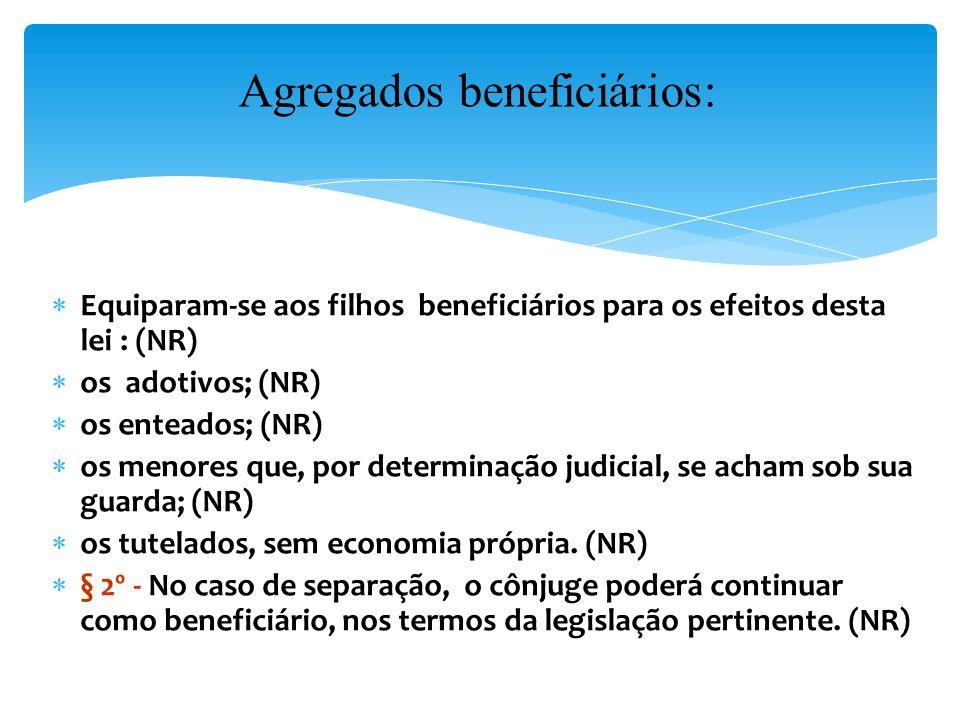 Equiparam-se aos filhos beneficiários para os efeitos desta lei : (NR) os adotivos; (NR) os enteados; (NR) os menores que, por determinação judicial, se acham sob sua guarda; (NR) os tutelados, sem economia própria.