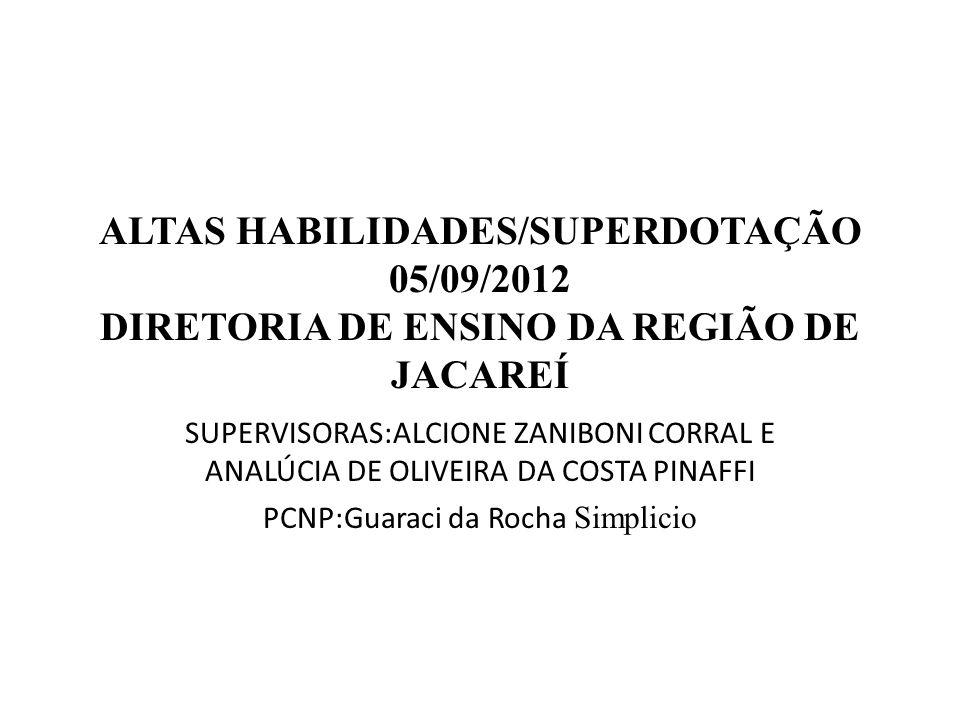 ALTAS HABILIDADES/SUPERDOTAÇÃO 05/09/2012 DIRETORIA DE ENSINO DA REGIÃO DE JACAREÍ SUPERVISORAS:ALCIONE ZANIBONI CORRAL E ANALÚCIA DE OLIVEIRA DA COST