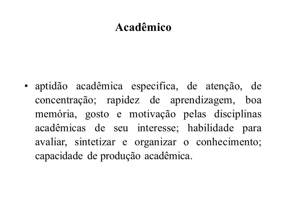 Acadêmico aptidão acadêmica especifica, de atenção, de concentração; rapidez de aprendizagem, boa memória, gosto e motivação pelas disciplinas acadêmi