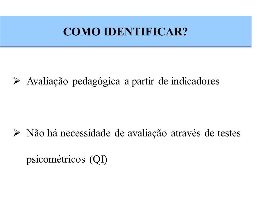 COMO IDENTIFICAR? Avaliação pedagógica a partir de indicadores Não há necessidade de avaliação através de testes psicométricos (QI)