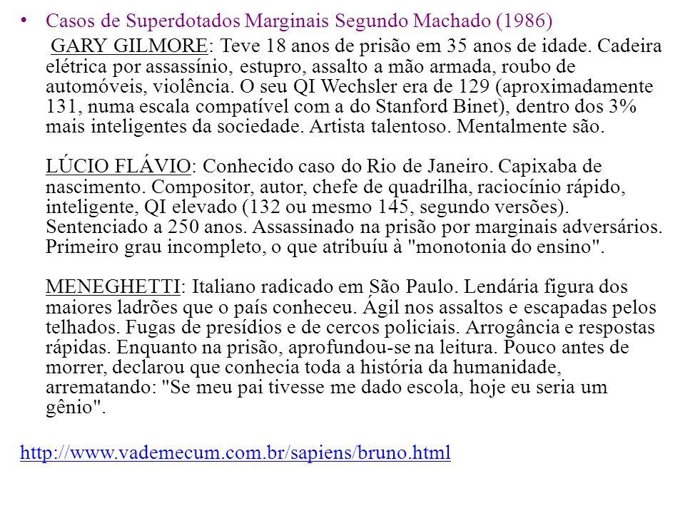 Casos de Superdotados Marginais Segundo Machado (1986) GARY GILMORE: Teve 18 anos de prisão em 35 anos de idade. Cadeira elétrica por assassínio, estu