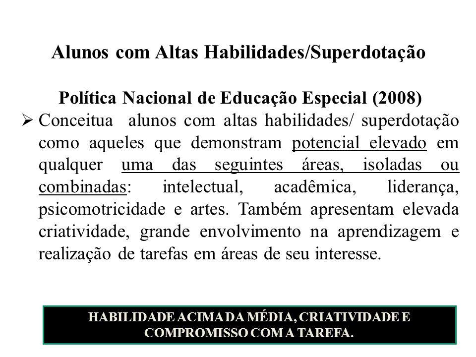 Alunos com Altas Habilidades/Superdotação Política Nacional de Educação Especial (2008) Conceitua alunos com altas habilidades/ superdotação como aque