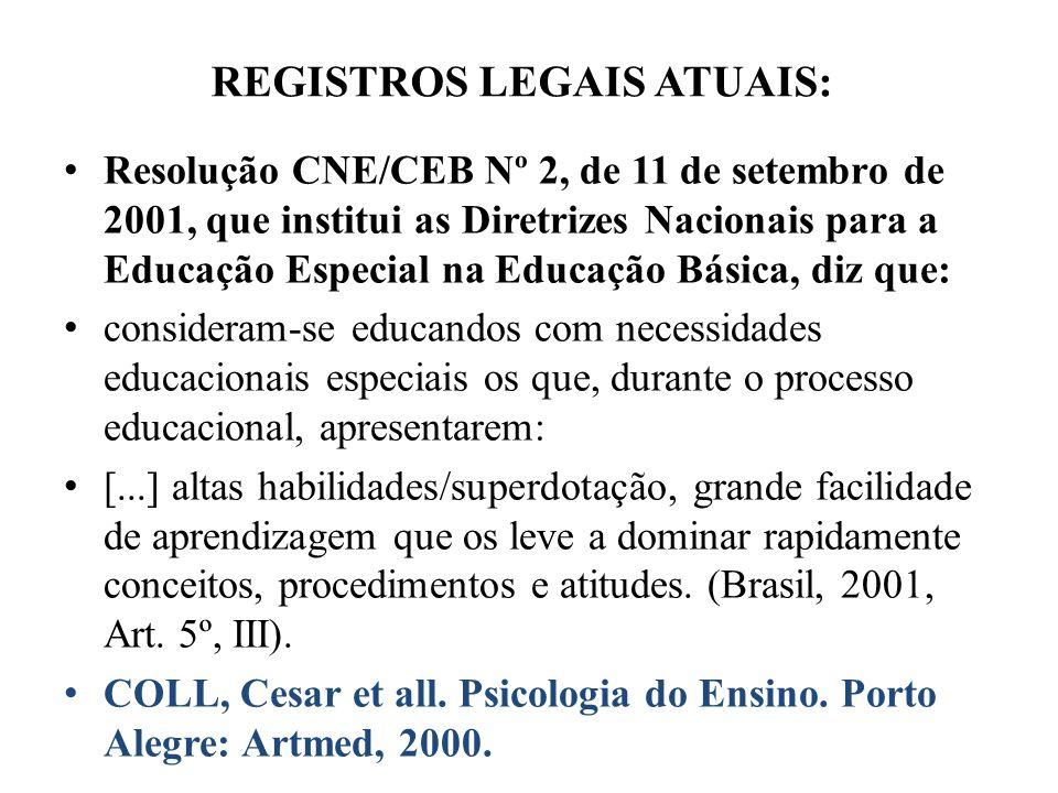 REGISTROS LEGAIS ATUAIS: Resolução CNE/CEB Nº 2, de 11 de setembro de 2001, que institui as Diretrizes Nacionais para a Educação Especial na Educação