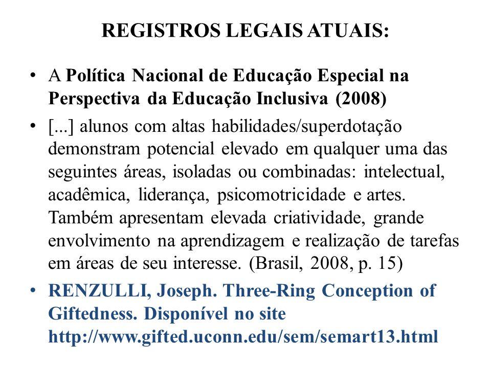 REGISTROS LEGAIS ATUAIS: A Política Nacional de Educação Especial na Perspectiva da Educação Inclusiva (2008) [...] alunos com altas habilidades/super