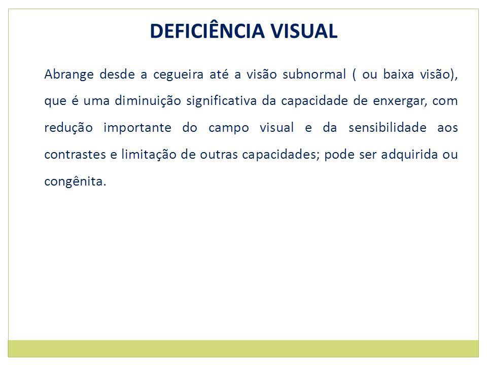 DEFICIÊNCIA VISUAL Abrange desde a cegueira até a visão subnormal ( ou baixa visão), que é uma diminuição significativa da capacidade de enxergar, com