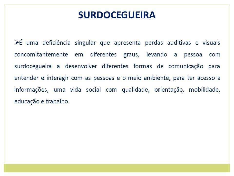 SURDOCEGUEIRA É uma deficiência singular que apresenta perdas auditivas e visuais concomitantemente em diferentes graus, levando a pessoa com surdoceg