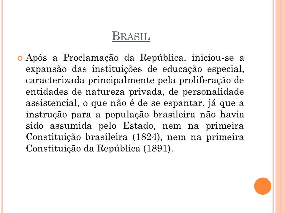 B RASIL Após a Proclamação da República, iniciou-se a expansão das instituições de educação especial, caracterizada principalmente pela proliferação d