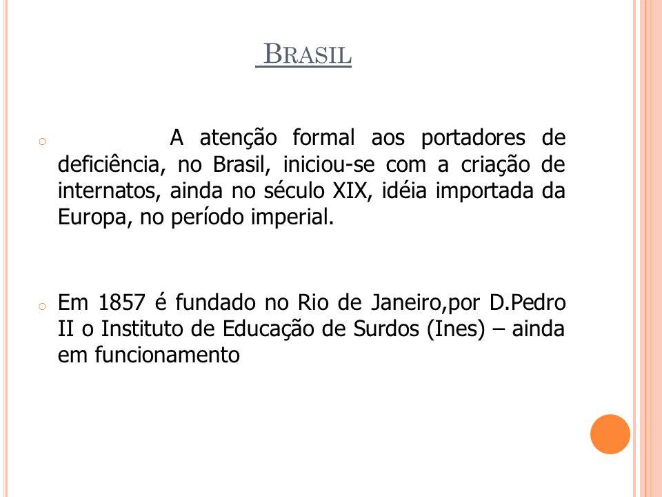 B RASIL o A atenção formal aos portadores de deficiência, no Brasil, iniciou-se com a criação de internatos, ainda no século XIX, idéia importada da E