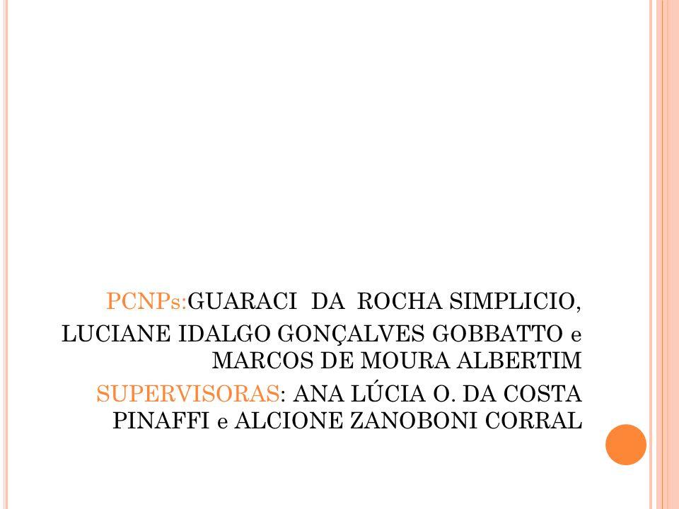 PCNPs:GUARACI DA ROCHA SIMPLICIO, LUCIANE IDALGO GONÇALVES GOBBATTO e MARCOS DE MOURA ALBERTIM SUPERVISORAS: ANA LÚCIA O. DA COSTA PINAFFI e ALCIONE Z