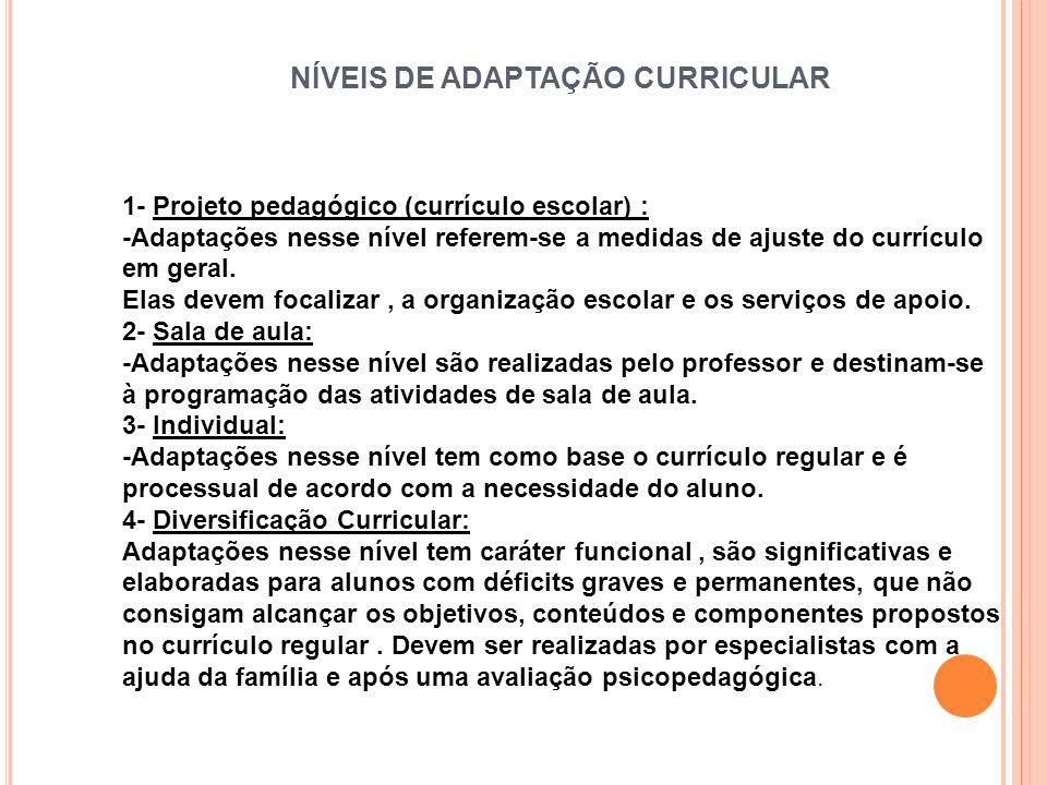 NÍVEIS DE ADAPTAÇÃO CURRICULAR 1- Projeto pedagógico (currículo escolar) : -Adaptações nesse nível referem-se a medidas de ajuste do currículo em gera