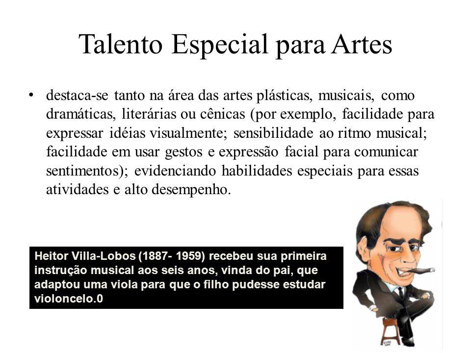 Talento Especial para Artes destaca-se tanto na área das artes plásticas, musicais, como dramáticas, literárias ou cênicas (por exemplo, facilidade pa