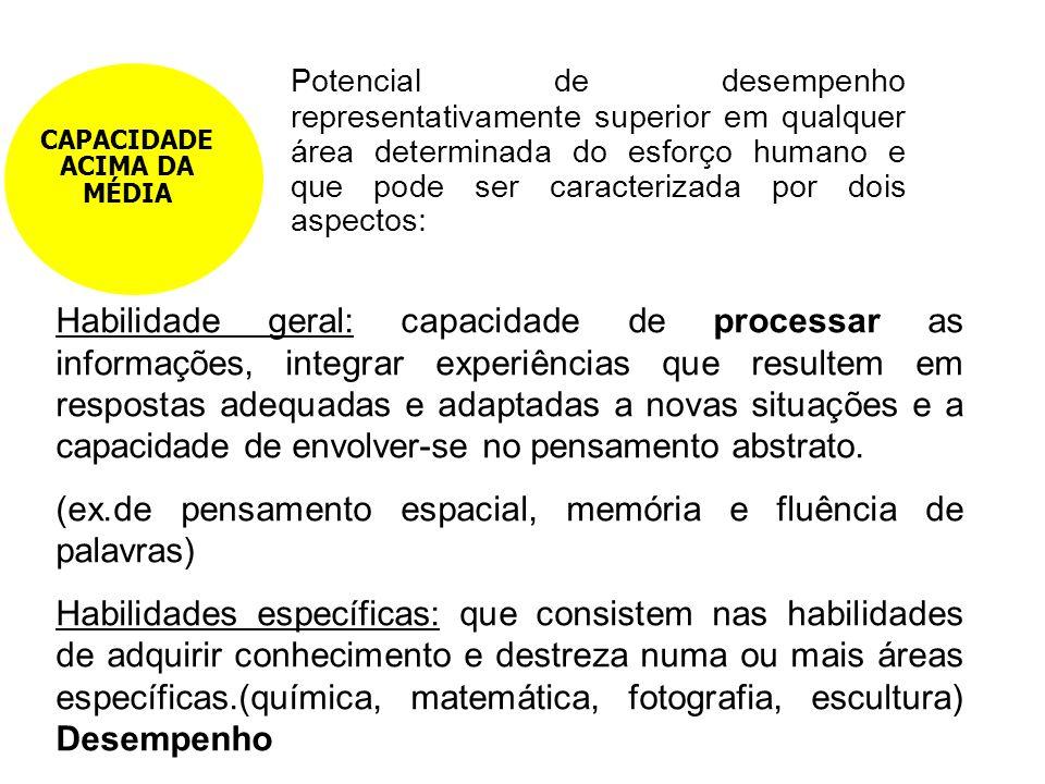 Potencial de desempenho representativamente superior em qualquer área determinada do esforço humano e que pode ser caracterizada por dois aspectos: CA
