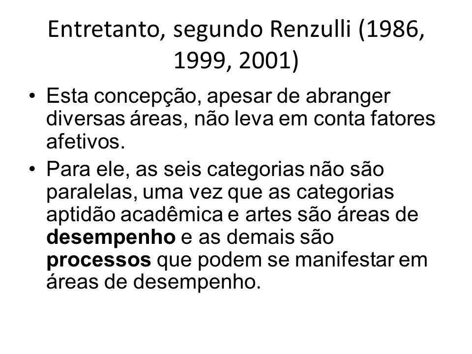 Entretanto, segundo Renzulli (1986, 1999, 2001) Esta concepção, apesar de abranger diversas áreas, não leva em conta fatores afetivos. Para ele, as se