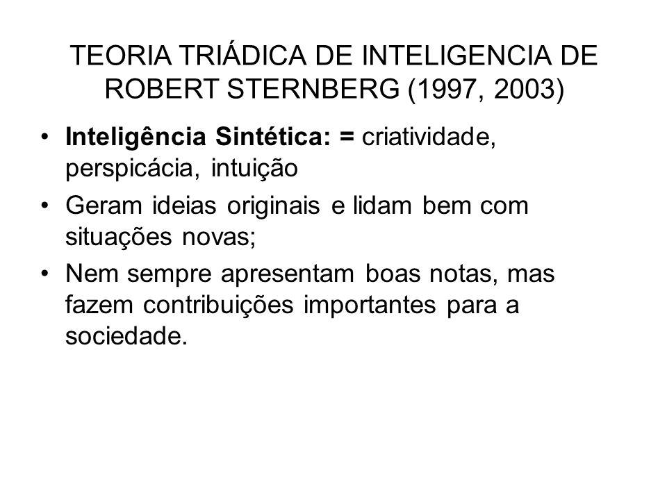 Inteligência Sintética: = criatividade, perspicácia, intuição Geram ideias originais e lidam bem com situações novas; Nem sempre apresentam boas notas