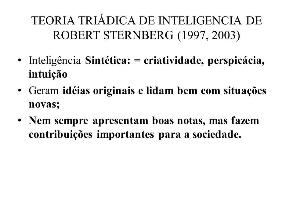 Inteligência Sintética: = criatividade, perspicácia, intuição Geram idéias originais e lidam bem com situações novas; Nem sempre apresentam boas notas