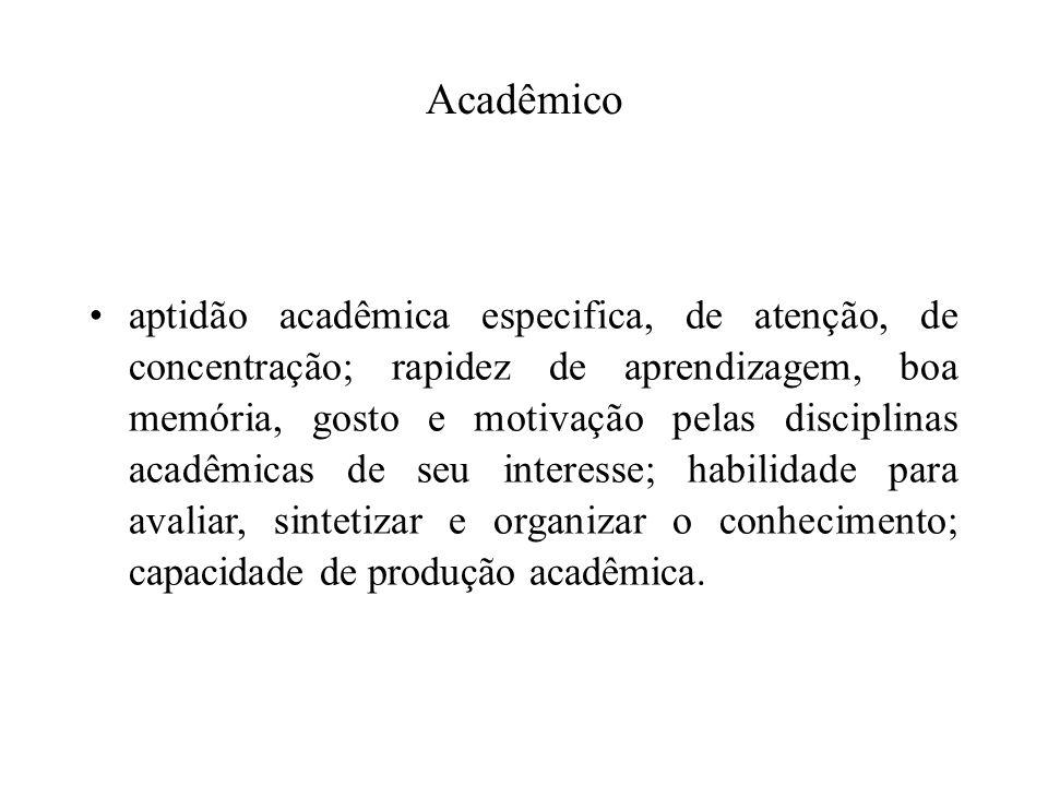 aptidão acadêmica especifica, de atenção, de concentração; rapidez de aprendizagem, boa memória, gosto e motivação pelas disciplinas acadêmicas de seu
