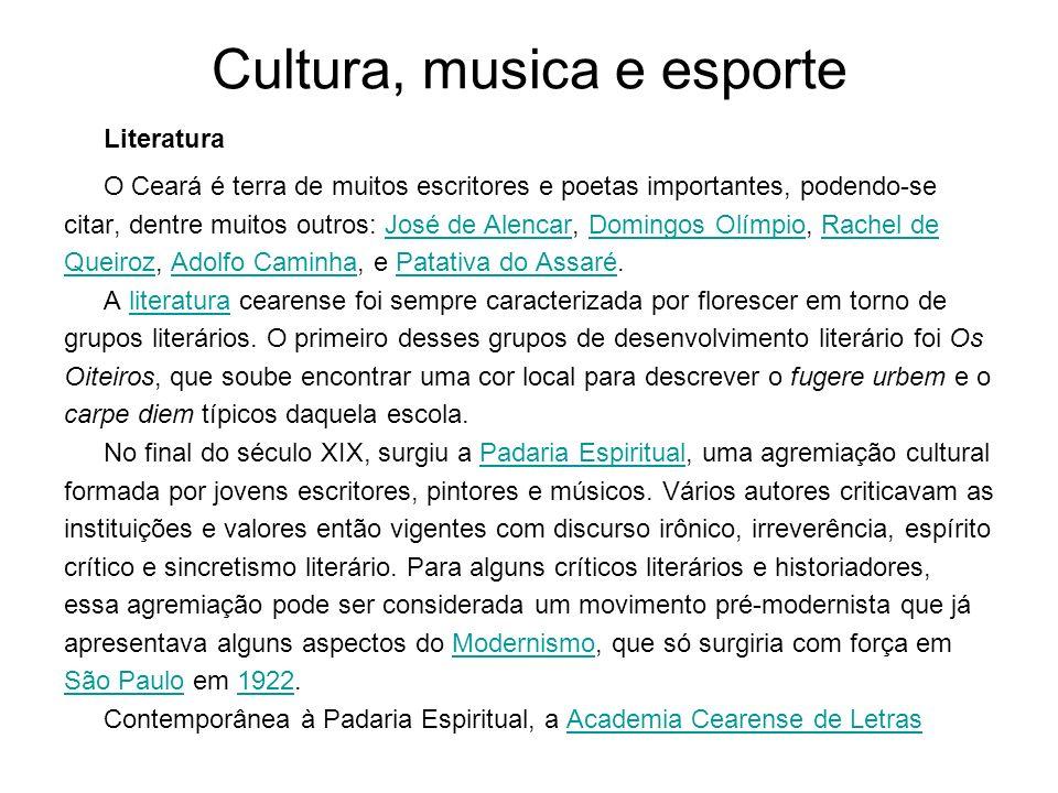 Cultura, musica e esporte Literatura O Ceará é terra de muitos escritores e poetas importantes, podendo-se citar, dentre muitos outros: José de Alenca