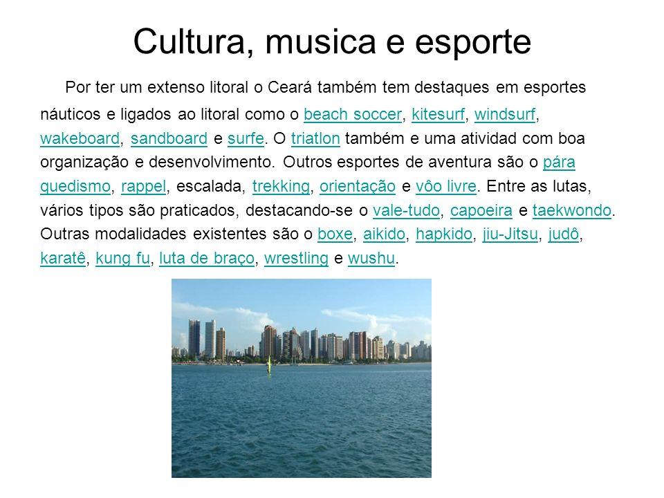 Cultura, musica e esporte Por ter um extenso litoral o Ceará também tem destaques em esportes náuticos e ligados ao litoral como o beach soccer, kites