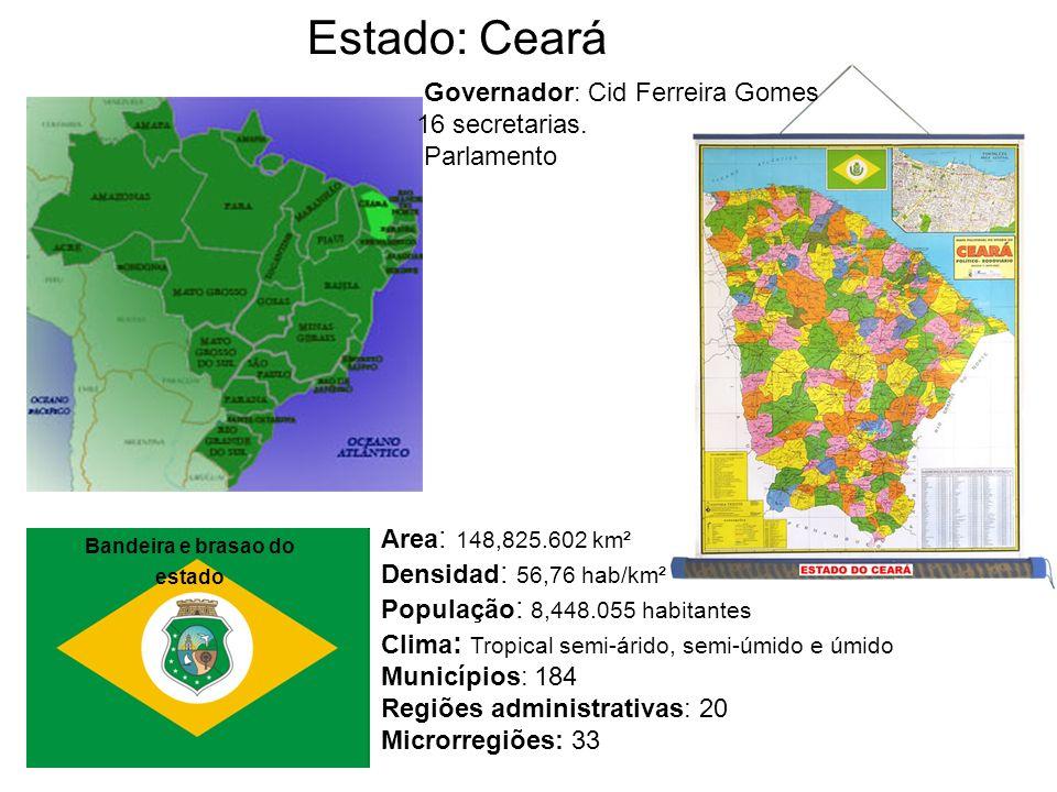 Estado: Ceará Area : 148,825.602 km² Densidad : 56,76 hab/km² População : 8,448.055 habitantes Clima : Tropical semi-árido, semi-úmido e úmido Municíp