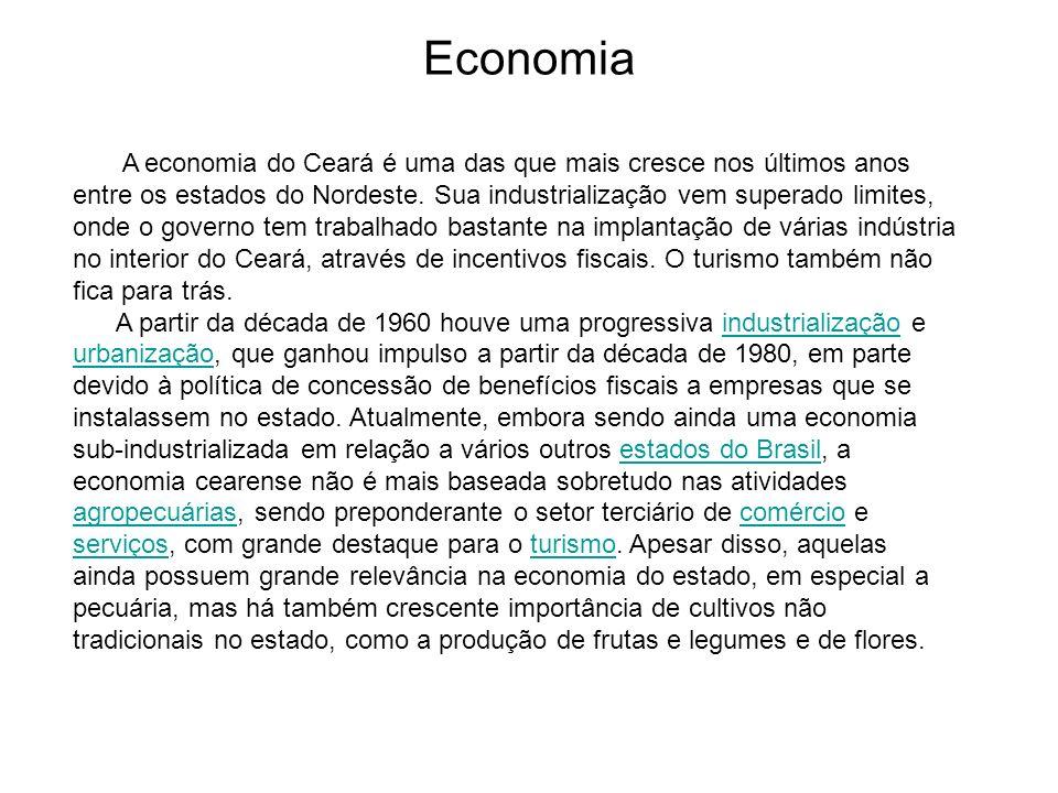 Economia A economia do Ceará é uma das que mais cresce nos últimos anos entre os estados do Nordeste. Sua industrialização vem superado limites, onde