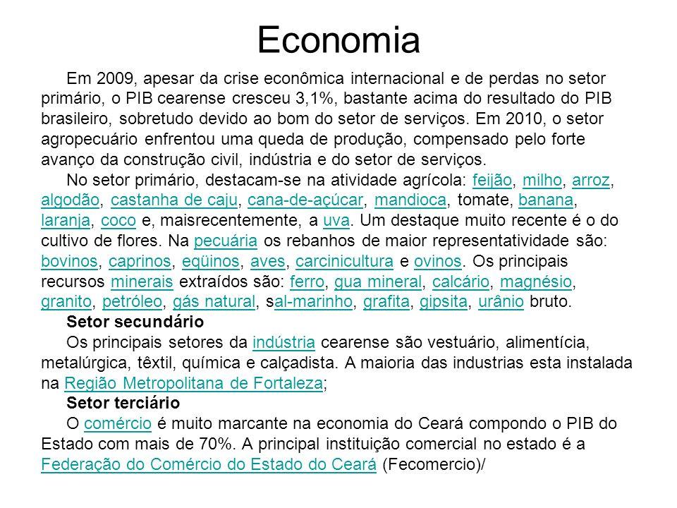 Economia Em 2009, apesar da crise econômica internacional e de perdas no setor primário, o PIB cearense cresceu 3,1%, bastante acima do resultado do P