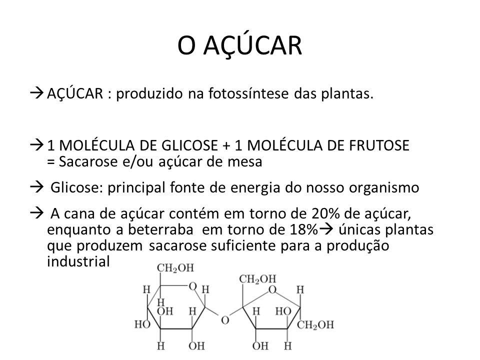 O AÇÚCAR AÇÚCAR : produzido na fotossíntese das plantas. 1 MOLÉCULA DE GLICOSE + 1 MOLÉCULA DE FRUTOSE = Sacarose e/ou açúcar de mesa Glicose: princip