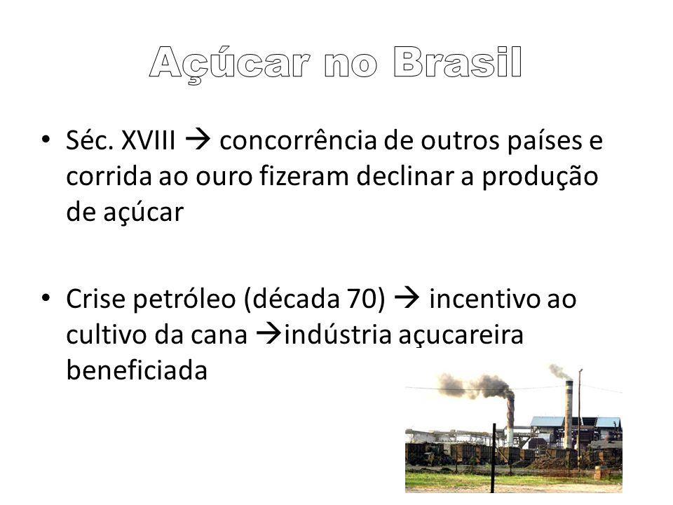 Séc. XVIII concorrência de outros países e corrida ao ouro fizeram declinar a produção de açúcar Crise petróleo (década 70) incentivo ao cultivo da ca