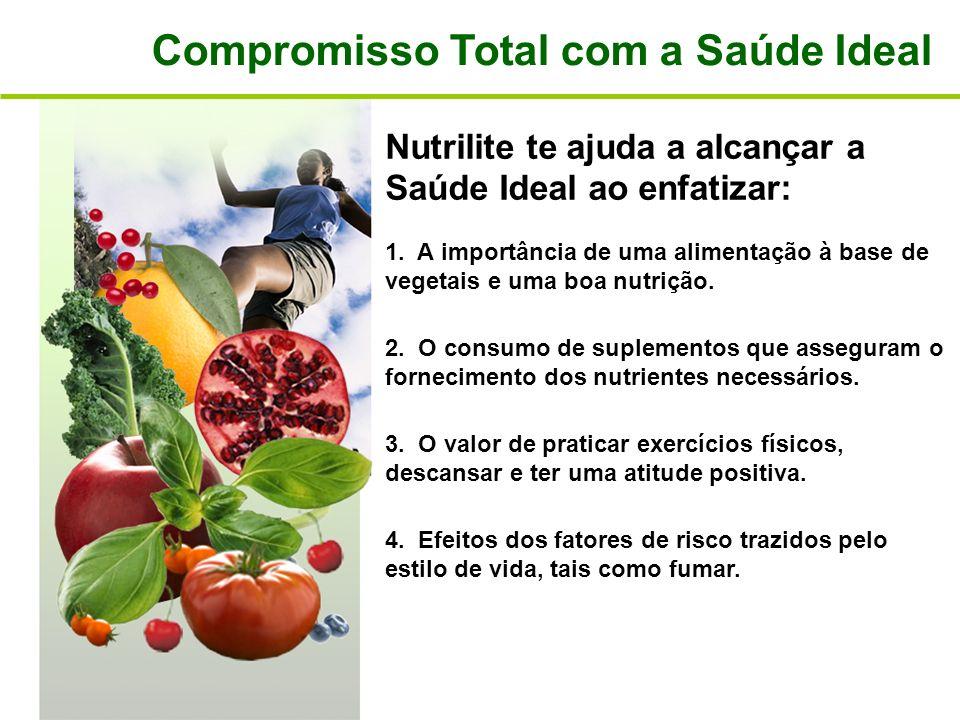 Compromisso Total com a Saúde Ideal Nutrilite te ajuda a alcançar a Saúde Ideal ao enfatizar: 1. A importância de uma alimentação à base de vegetais e