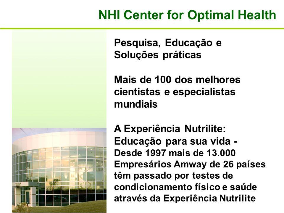 NHI Center for Optimal Health Pesquisa, Educação e Soluções práticas Mais de 100 dos melhores cientistas e especialistas mundiais A Experiência Nutril