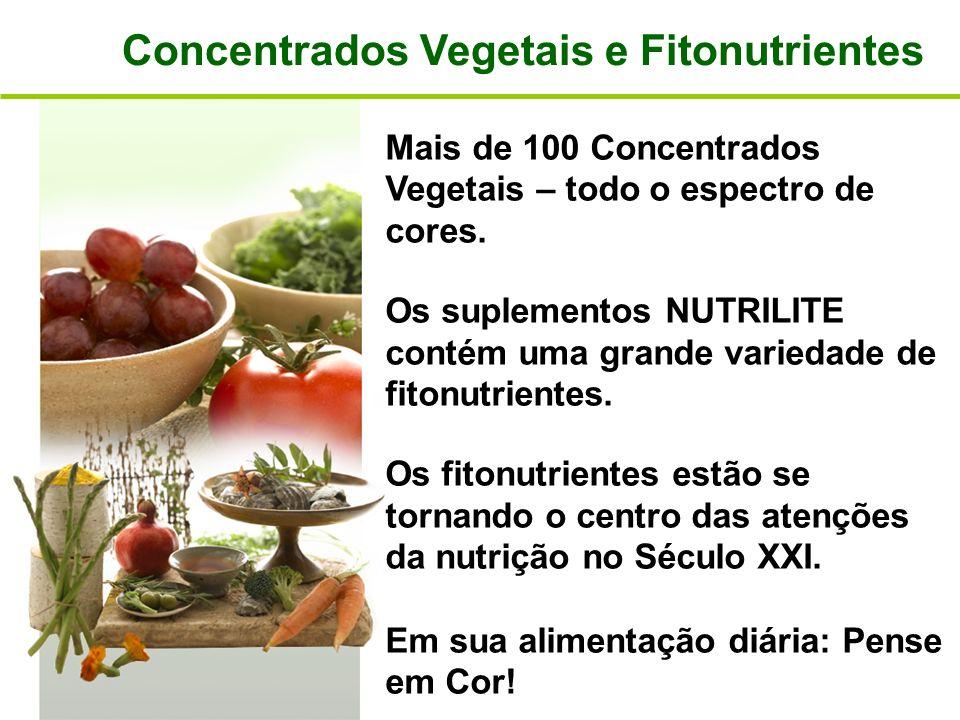 Concentrados Vegetais e Fitonutrientes Mais de 100 Concentrados Vegetais – todo o espectro de cores. Os suplementos NUTRILITE contém uma grande varied