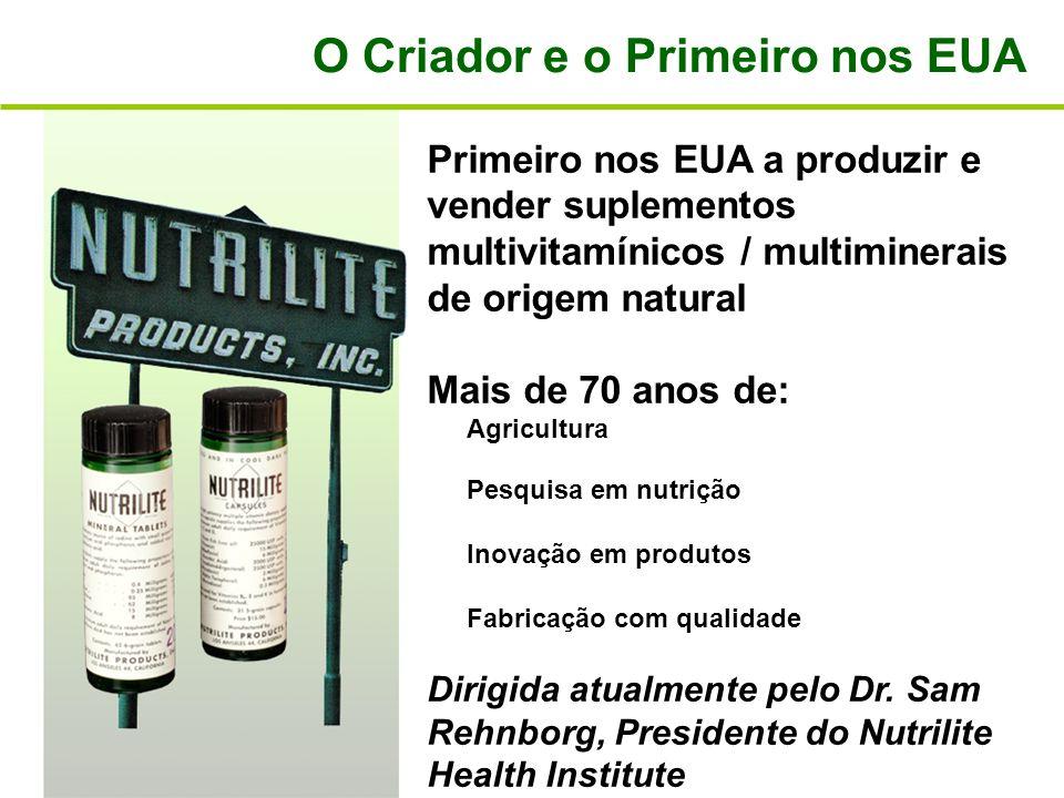 Primeiro nos EUA a produzir e vender suplementos multivitamínicos / multiminerais de origem natural Mais de 70 anos de: Agricultura Pesquisa em nutriç