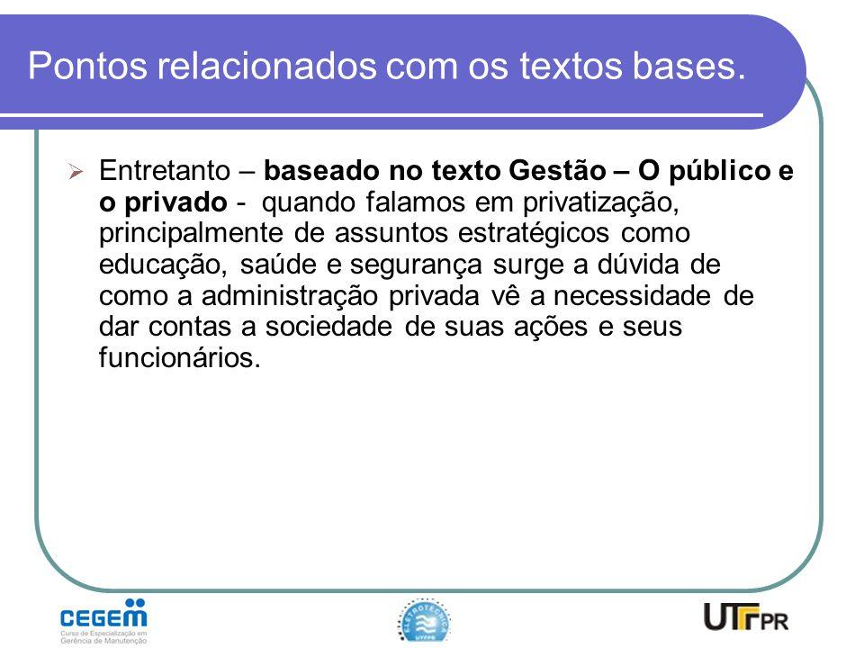 Pontos relacionados com os textos bases. Entretanto – baseado no texto Gestão – O público e o privado - quando falamos em privatização, principalmente