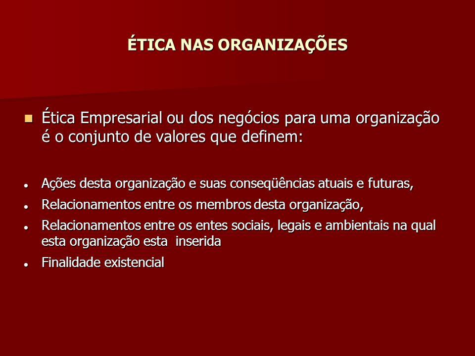 ÉTICA NAS ORGANIZAÇÕES Ética Empresarial ou dos negócios para uma organização é o conjunto de valores que definem: Ética Empresarial ou dos negócios p