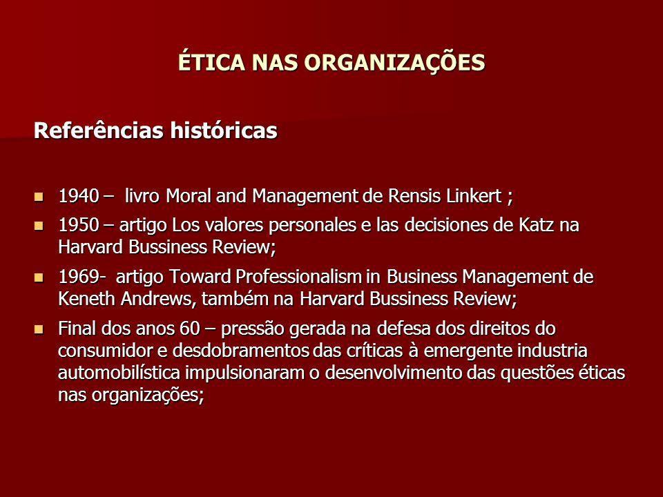 ÉTICA NAS ORGANIZAÇÕES Referências históricas 1940 – livro Moral and Management de Rensis Linkert ; 1940 – livro Moral and Management de Rensis Linker