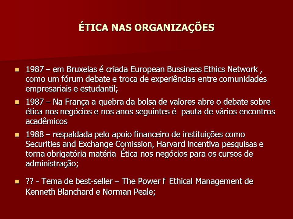 ÉTICA NAS ORGANIZAÇÕES 1987 – em Bruxelas é criada European Bussiness Ethics Network, como um fórum debate e troca de experiências entre comunidades e