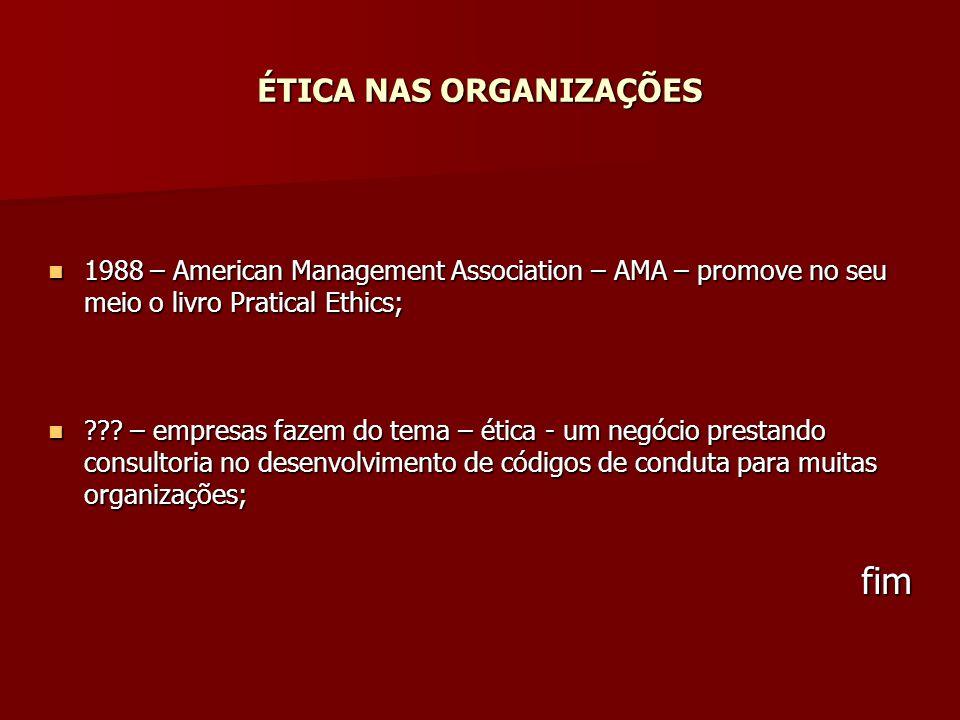 ÉTICA NAS ORGANIZAÇÕES 1988 – American Management Association – AMA – promove no seu meio o livro Pratical Ethics; 1988 – American Management Associat