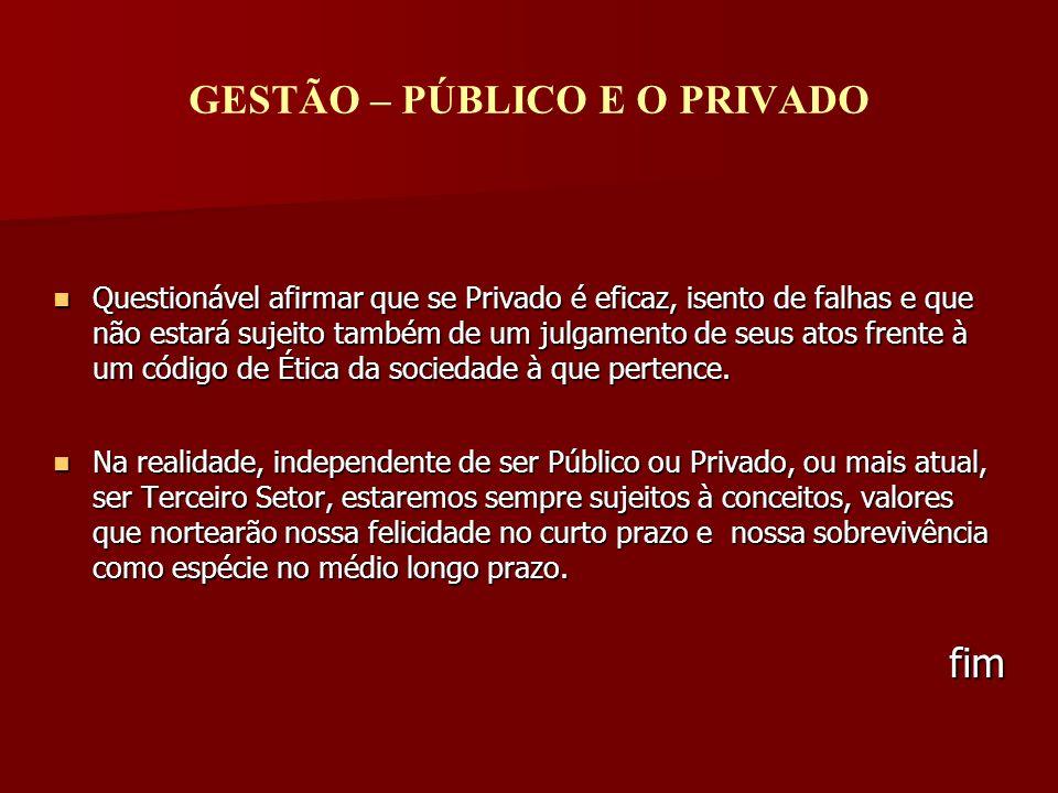 GESTÃO – PÚBLICO E O PRIVADO Questionável afirmar que se Privado é eficaz, isento de falhas e que não estará sujeito também de um julgamento de seus a