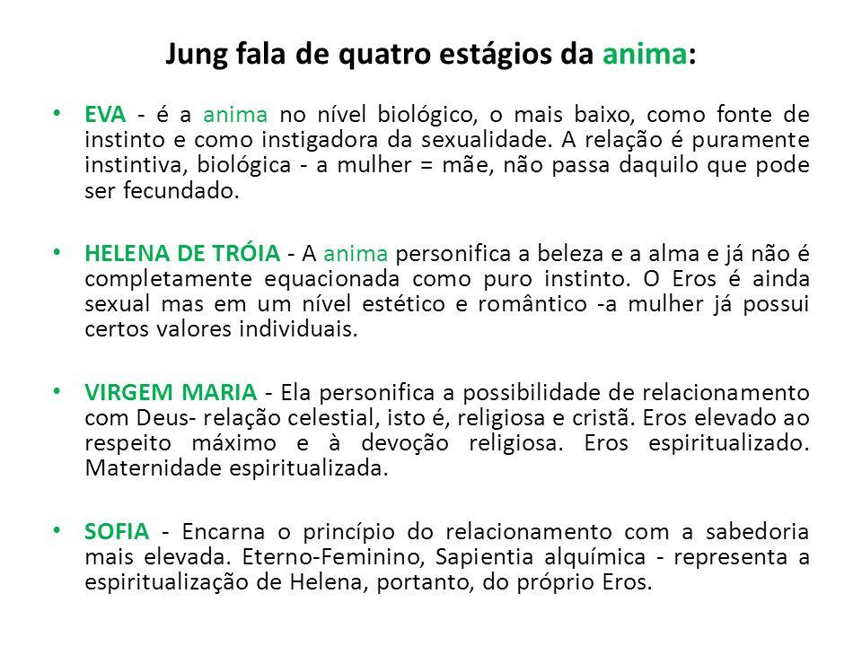 Jung fala de quatro estágios da anima: EVA - é a anima no nível biológico, o mais baixo, como fonte de instinto e como instigadora da sexualidade. A r