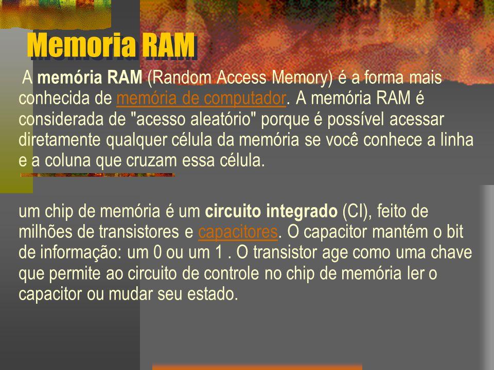 Memoria RAM A memória RAM (Random Access Memory) é a forma mais conhecida de memória de computador. A memória RAM é considerada de