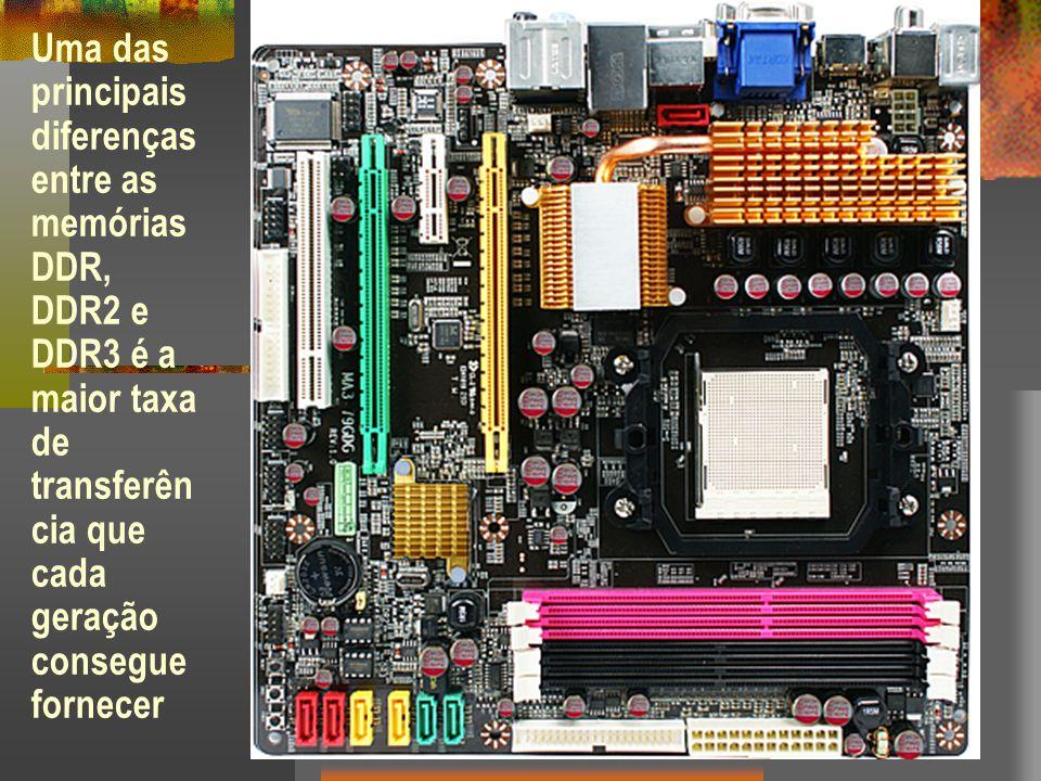 Uma das principais diferenças entre as memórias DDR, DDR2 e DDR3 é a maior taxa de transferên cia que cada geração consegue fornecer