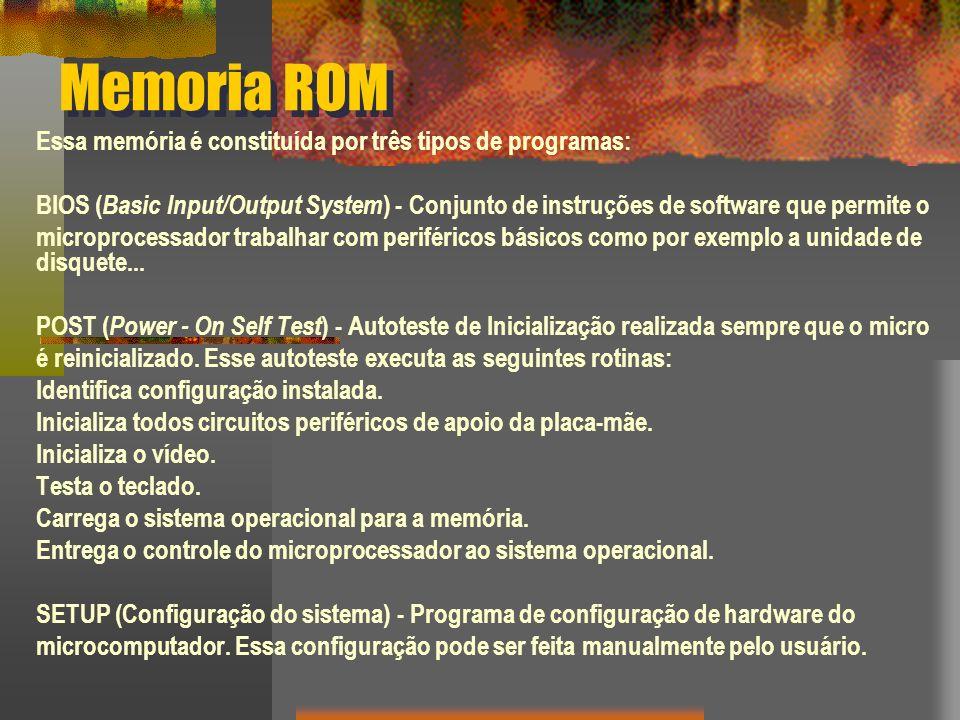 Memoria ROM Existem 5 tipos básicos de ROM: ROM PROM EPROM EEPROM memória Flash Cada tipo possui características únicas são todos tipos de memória com duas coisas em comum:memória - os dados armazenados nesse chip são não voláteis, ou seja, não são perdidos quando a energia elétrica é retirada; - os dados armazenados nesse chip são também imutáveis, ou requerem uma operação especial para serem alterados.