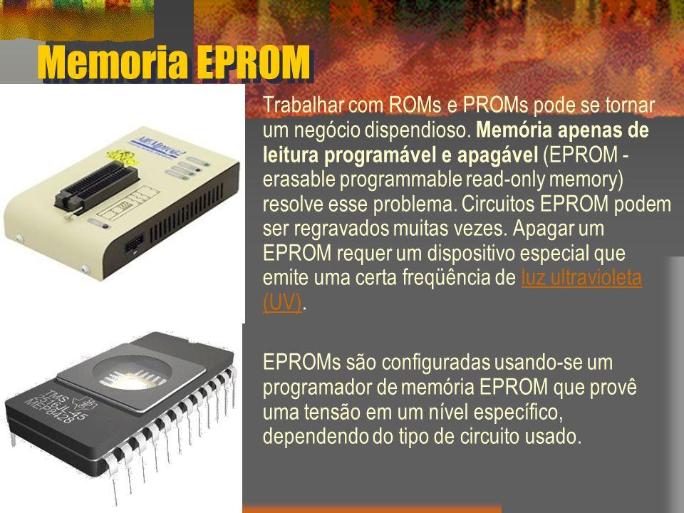 Memoria EPROM Trabalhar com ROMs e PROMs pode se tornar um negócio dispendioso. Memória apenas de leitura programável e apagável (EPROM - erasable pro
