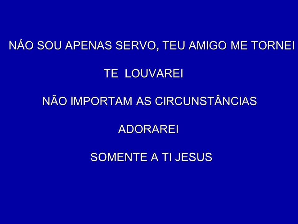 NÁO SOU APENAS SERVO, TEU AMIGO ME TORNEI TE LOUVAREI NÃO IMPORTAM AS CIRCUNSTÂNCIAS ADORAREI SOMENTE A TI JESUS