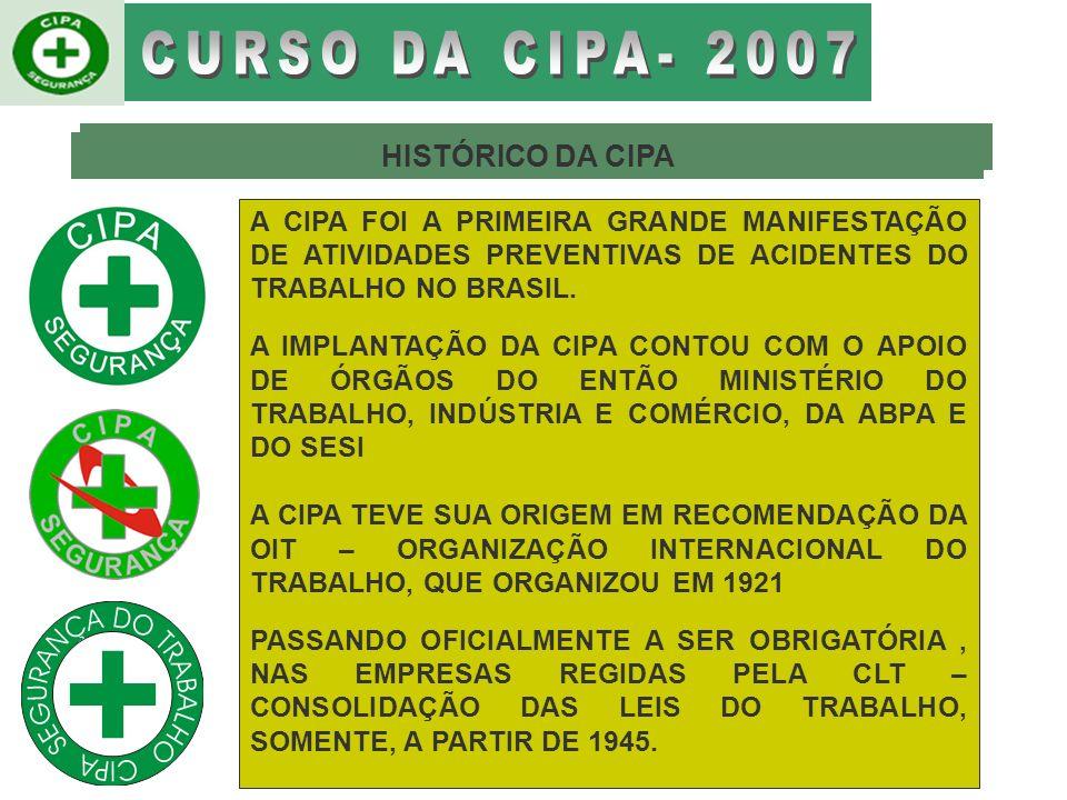 BRASIL # C.L.T CONSOLIDAÇÃO DAS LEIS DO TRABALHO (1943) # SURGIMENTO DA (CIPA) COMISSÃO DE SEGURANÇA DO TRABALHO EM ESTABELECIMENTOS INDUSTRIAIS, EM 10 DE NOVEMBRO DE 1944, O DECRETO-LEI N O 7036.