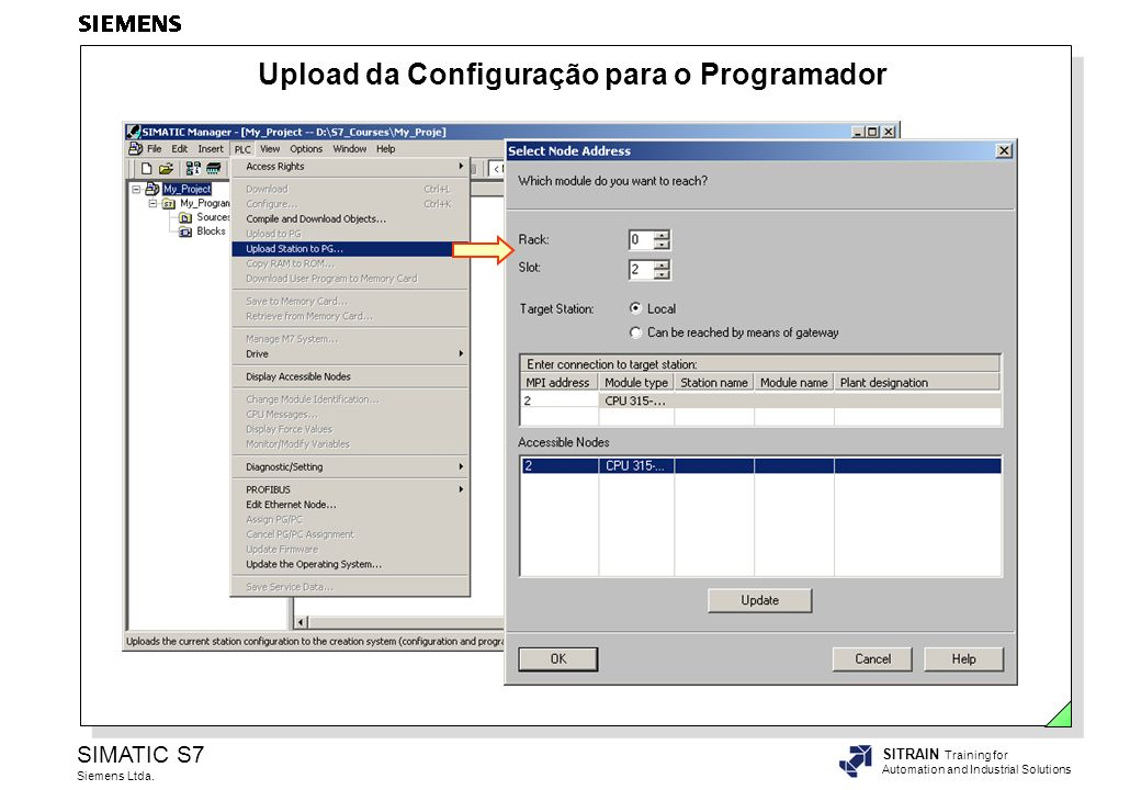 SIMATIC S7 Siemens Ltda. SITRAIN Training for Automation and Industrial Solutions Upload da Configuração para o Programador