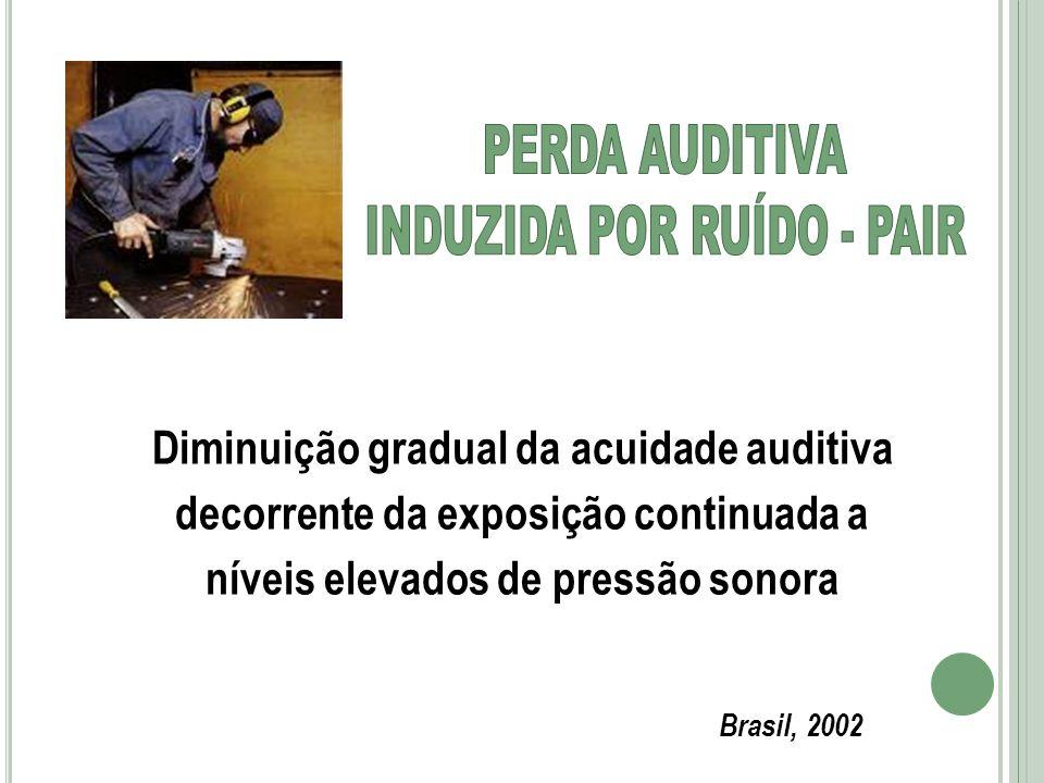 Diminuição gradual da acuidade auditiva decorrente da exposição continuada a níveis elevados de pressão sonora Brasil, 2002
