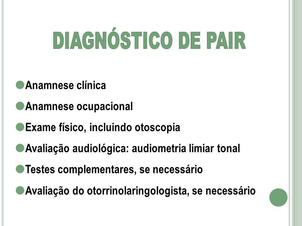 Anamnese clínica Anamnese ocupacional Exame físico, incluindo otoscopia Avaliação audiológica: audiometria limiar tonal Testes complementares, se nece