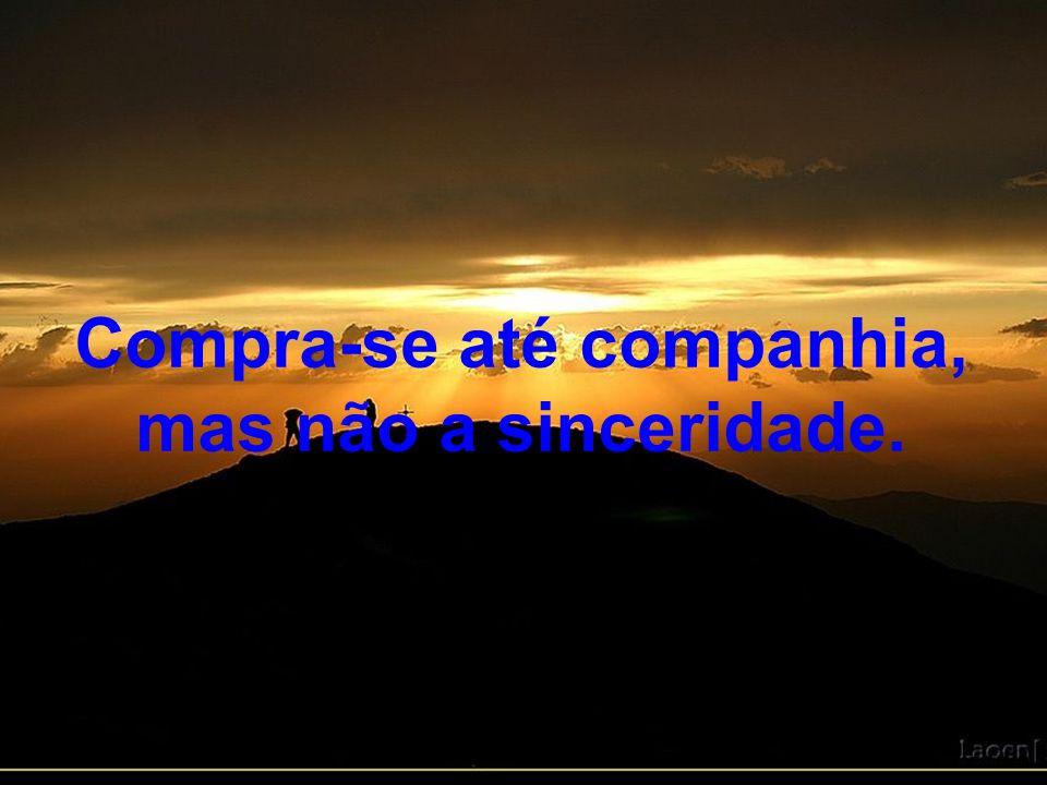 Compra-se conforto, mas não a paz de espírito, não a tranquilidade, menos ainda a felicidade.