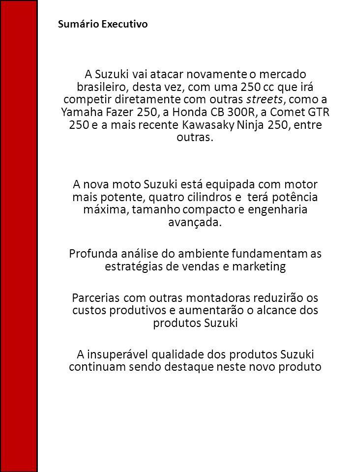 Sumário Executivo A Suzuki vai atacar novamente o mercado brasileiro, desta vez, com uma 250 cc que irá competir diretamente com outras streets, como